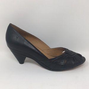 Frye Shoes - Frye Heels Pumps Peep Toe Shoes Black Leather 7.5